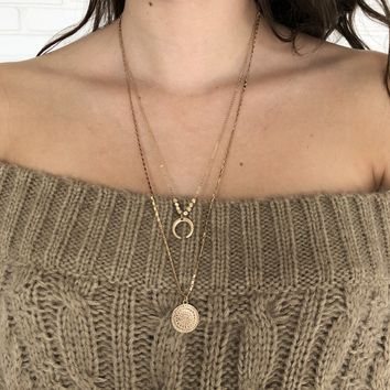 Earned Medel Gold Layered Necklace