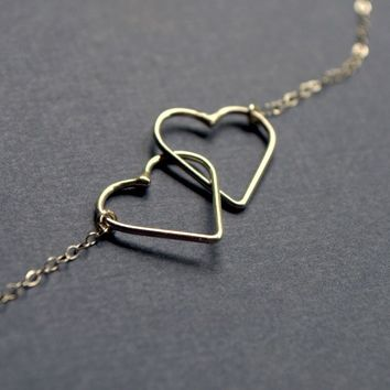 Sterling Silver Entwined Hearts Necklace