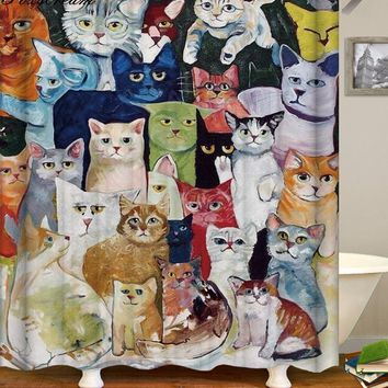 Cat shower curtains bathroom shower curtain 3D fabric shower curtain funny waterproof shower curtain cortina de ducha