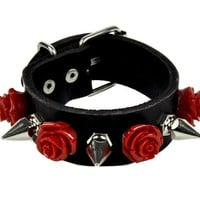 1 Row Red Rose and Spike Leather Wristband Bracelet