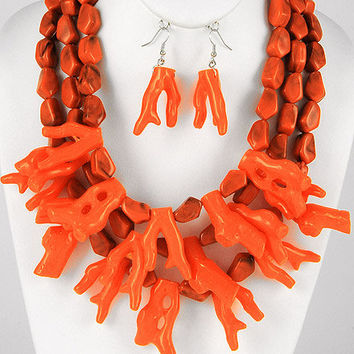 Coral Branch Necklace - Coral Bib Necklace - Coral Reef Necklace - Orange Necklace - Chunky Necklace - matching earrings