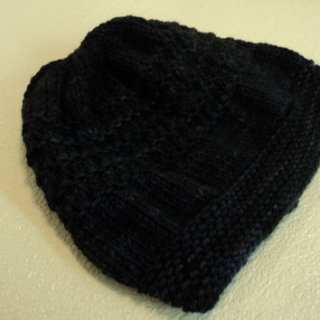 Handcrafted Beanie Hat Dark Blue Textured Slouchy Baby Merino Wool Female Adult -- New No Tags