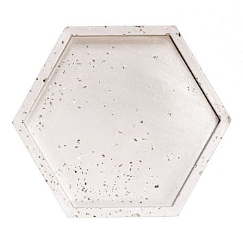 Natural Grey with Silver Glitter Concrete Hexagon Tray