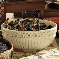 Lucia Embossed Ceramic Serving Bowl | Pottery Barn