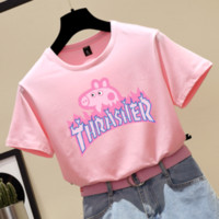 Thrasher & Pig Peggy new fashion t-shirt female short-sleeved couple top Pink