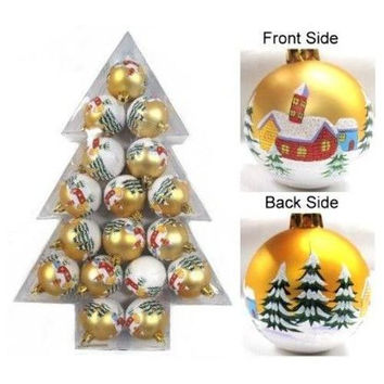 17 piece Christmas Plastic Decoration Ball, Matte Gold with Houses & Trees Design with White Glitter