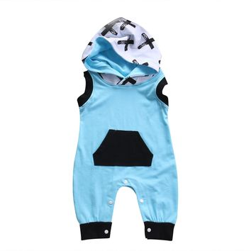 Newborn Baby Boys Romper Sleeveless Hooded Jumpsuit Playsuit Clothes Boy Children Clothing Blue Summer Rompers Outfits 0-24M