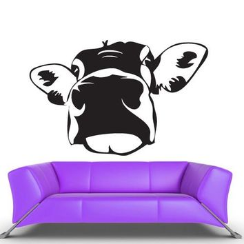 Wall Vinyl Decal Sticker Bedroom Decal Cartoon Funny Cow Head  z461