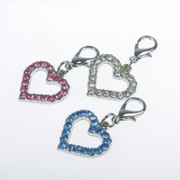Rhinestone Heart Dog Collar Charms/Pendants