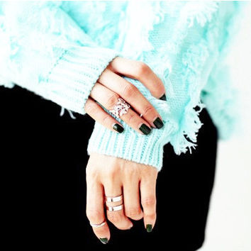Gift New Arrival Shiny Stylish Korean Accessory Leaf Metal Ladies Jewelry Ring [6586211719]