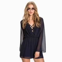 Black V-Neck Sleeve Chiffon Romper