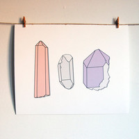 Natural Crystal Art - Digital Illustration - 11x14 Crystals Trio - Archival Print