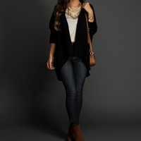 Sale-black Drape Front Cardigan