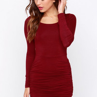 LULUS Exclusive Stay With Me Wine Red Long Sleeve Dress