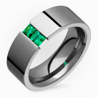 7mm Wide, Flat, Comfort Fit Titanium Ring Tension Set With Emerald