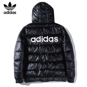 Adidas Autumn And Winter Fashion New Letter Leaf Print Hooded Long Sleeve Coat Cotton Clothing