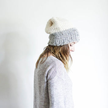 Slouchy Two Toned Chunky Knit Hat Unisex Beanie | THE TIMBERLANE | Marble Grey & Fisherman