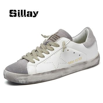 New Brand Designer 2017 Italy Golden Genuine Leather Casual Men Trainers Goose star shoes Breathe Shoes Footwear Zapatillas