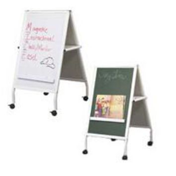 Double-sided_Dry_Erase_Green_Chalkboard_Easel_with_Wheels_-_Silver_19530