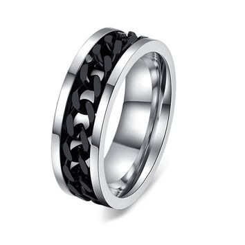 Stainless Steel Black Chain Spinner Rings For Men