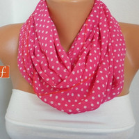 Fuchsia  Polka Dots Infinity Scarf Shawl Circle Scarf Loop Scarf Gift - for her -- fatwoman