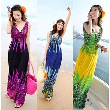 Summer Women's 5 Colors Bohemia Slim Beach Dress