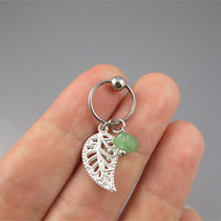 Cute leaf Captive Bead Hoop, Green Adventurine and leaf Cartilage Earring,Helix Earring Piercing,316L Surgical Steel Captive Bead Hoop