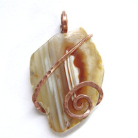 Carnelian Agate Slice Pendant Recycled 100% Copper Jewelry NATURAL Oregon Tension Set Art Wrap Banded Agate Sardonyx  Jewelry FREE SHIPPING