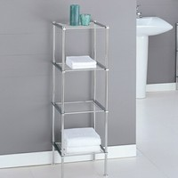 A.M.B. Furniture & Design :: Bathroom Accessories :: Bathroom shelves :: 4 tier chrome finish metal bathroom accessory shelf