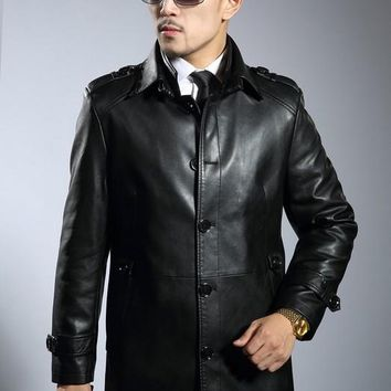 Hot 2016 New genuine leather jackets men's sheepskin trench men medium-long double layer thick collar leather clothing Fur Coat