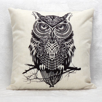 2016 New Arrive Simple Cotton Linen Cushion Pillow Home Decor 45cm*45cm Branch Owl Pattern