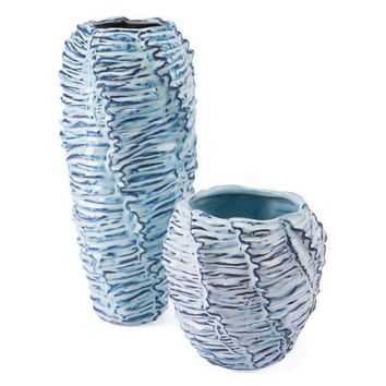 A10034 Mar Tall Vase Blue & White