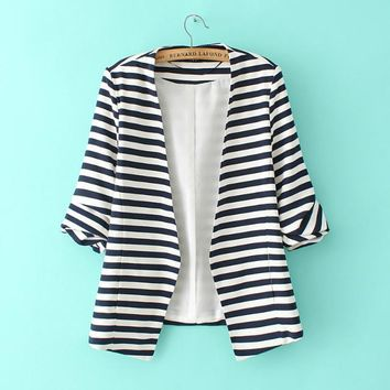 2016 Modest Formal Female Clothing Newest Spring Women's Fashion Navy White Striped Long Sleeve Slim Fitted Open Front Blazer
