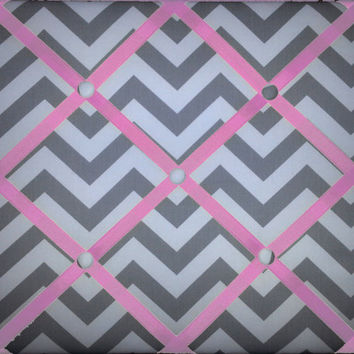 Chevron (Zig Zag / zigzag) Print French Memo Board 11 x 14 -  Bulletin Board - Your choice of fabric and  ribbon colors - FREE US SHIPPING