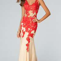 Lace V-Neck Sleeveless Gown JVN by Jovani