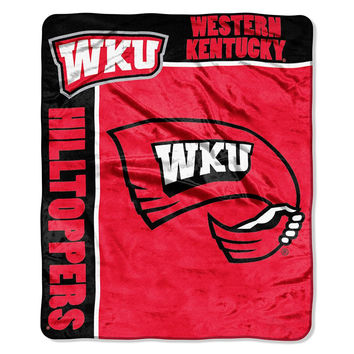Western Kentucky Hilltoppers NCAA Royal Plush Raschel Blanket (School Spirit Series) (50in x 60in)