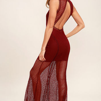 Great Catch Burgundy Mesh Maxi Dress