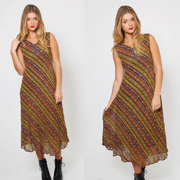 Vintage 90s INDIAN Maxi Dress ETHNIC Beaded Dress STRIPED Boho Dress Hippie Shift Dress Gypsy Dress