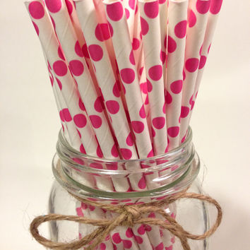 25 fuschia Polka Dot paper straws // baby bridal shower decorations / candy dessert buffet table // wedding // First birthday/new year party
