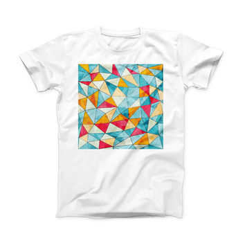 The Triangular Geometric Pattern ink-Fuzed Front Spot Graphic Unisex Soft-Fitted Tee Shirt