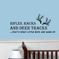 Wall Decals Quotes Racks and Deer Tracks, thats what little boys are made of Quote Kids Boys Nursery Wall Vinyl Decal Stickers Bedroom Murals