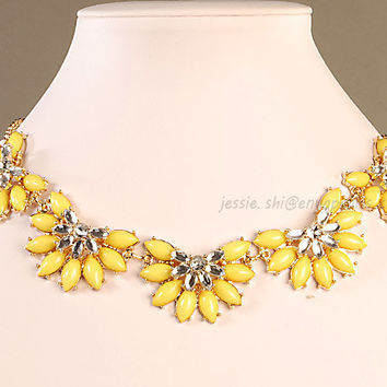 Statement Necklace,Yellow Bubble Necklace,Popular Necklace,Wedding Necklace(FN0674-Yellow)
