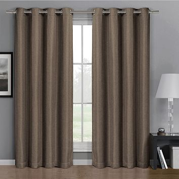 Taupe 52x63 Gulfport Faux Linen Blackout Weave Grommet Window Curtain Panels