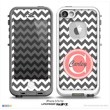The Dark Gray & White Chevron Monogram Name Script Skin v1 Skin for the iPhone 5-5s Fre LifeProof Case