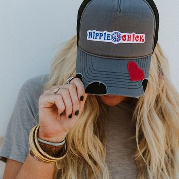 Hippie Chick Patched Baseball Hat