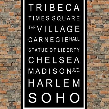New York City Subway Sign Print - Central Park, Tribeca, Harlem, SOHO - Multiple Sizes