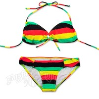 Rasta Tie Dye Stripe Keyhole Top and Rio Bottom Bikini Swimsuit @ RastaEmpire.com