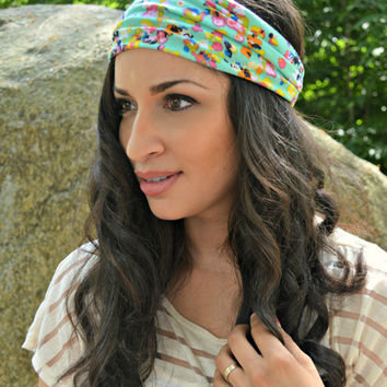Mint Floral Turban, turban headband - head wrap - hippie - boho