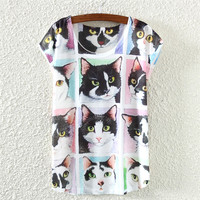 White Short Sleeve Cat Facial Expression Print T-Shirt