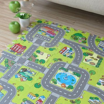 New! JCC EVA Baby Foam Puzzle Play Mat,9pcs/set Floor Exercise Tiles rug and carpet for kids. Each one=30x30cm. All area 90X90cm
